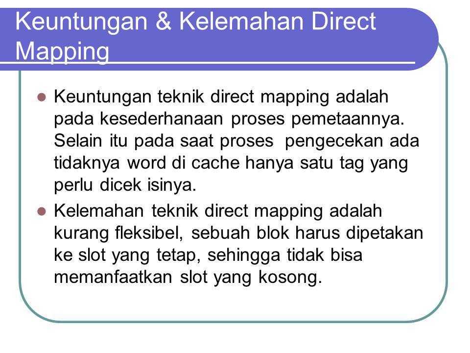 Keuntungan & Kelemahan Direct Mapping Keuntungan teknik direct mapping adalah pada kesederhanaan proses pemetaannya. Selain itu pada saat proses penge