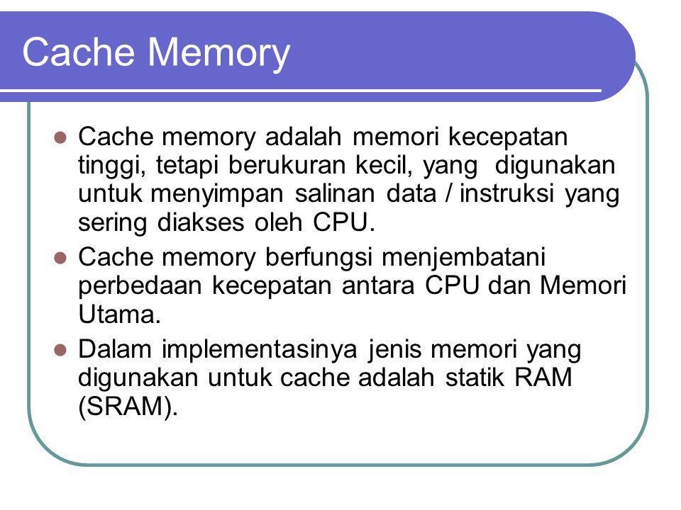 Cache memory adalah memori kecepatan tinggi, tetapi berukuran kecil, yang digunakan untuk menyimpan salinan data / instruksi yang sering diakses oleh