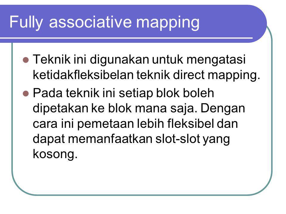 Fully associative mapping Teknik ini digunakan untuk mengatasi ketidakfleksibelan teknik direct mapping. Pada teknik ini setiap blok boleh dipetakan k