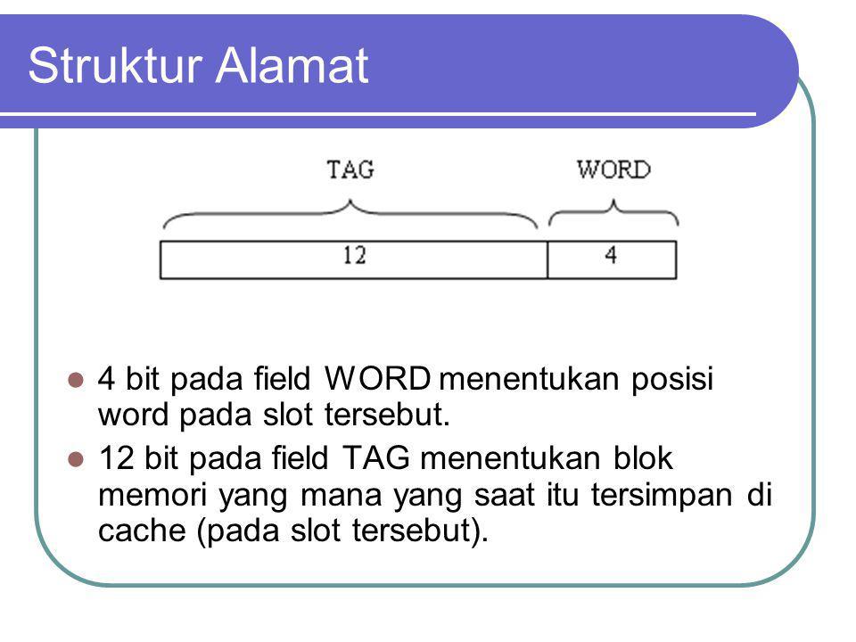 Struktur Alamat 4 bit pada field WORD menentukan posisi word pada slot tersebut. 12 bit pada field TAG menentukan blok memori yang mana yang saat itu