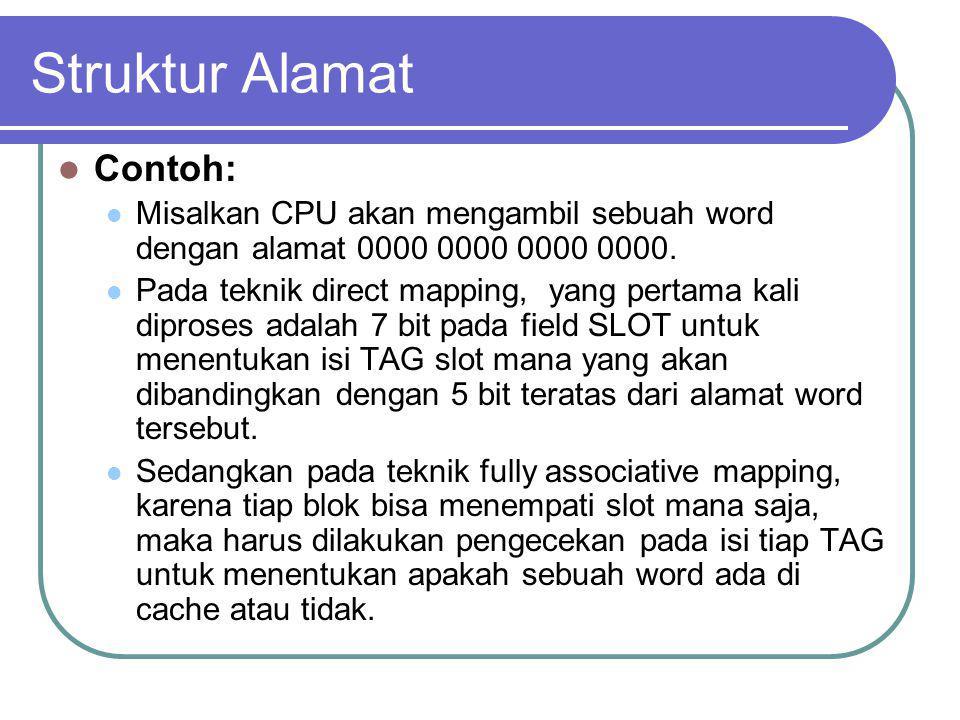 Struktur Alamat Contoh: Misalkan CPU akan mengambil sebuah word dengan alamat 0000 0000 0000 0000. Pada teknik direct mapping, yang pertama kali dipro