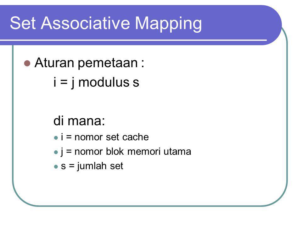 Set Associative Mapping Aturan pemetaan : i = j modulus s di mana: i = nomor set cache j = nomor blok memori utama s = jumlah set