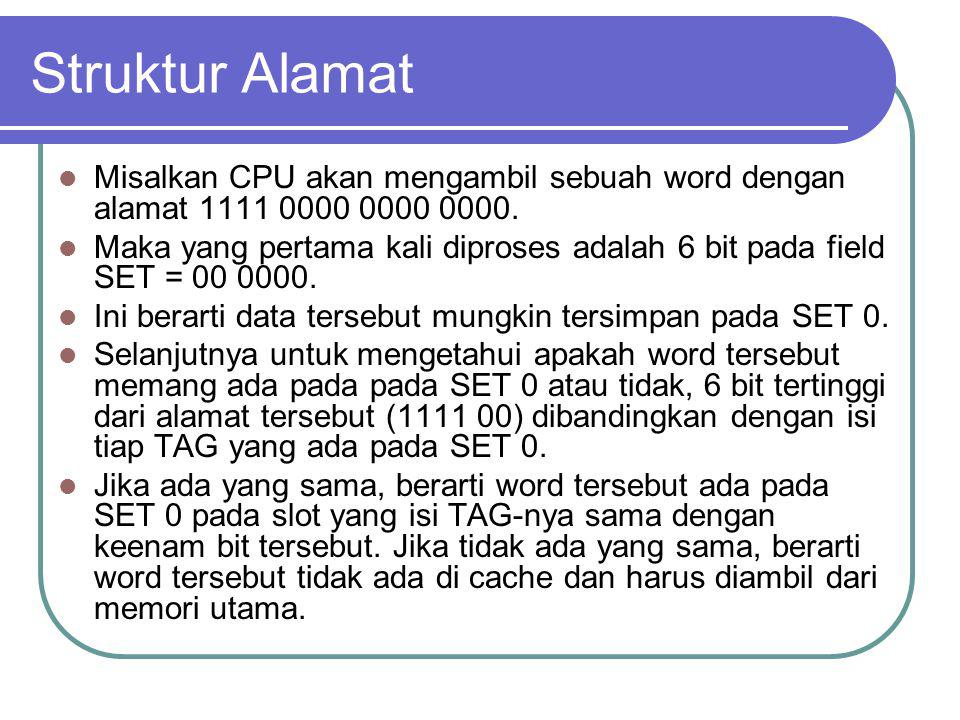 Struktur Alamat Misalkan CPU akan mengambil sebuah word dengan alamat 1111 0000 0000 0000. Maka yang pertama kali diproses adalah 6 bit pada field SET