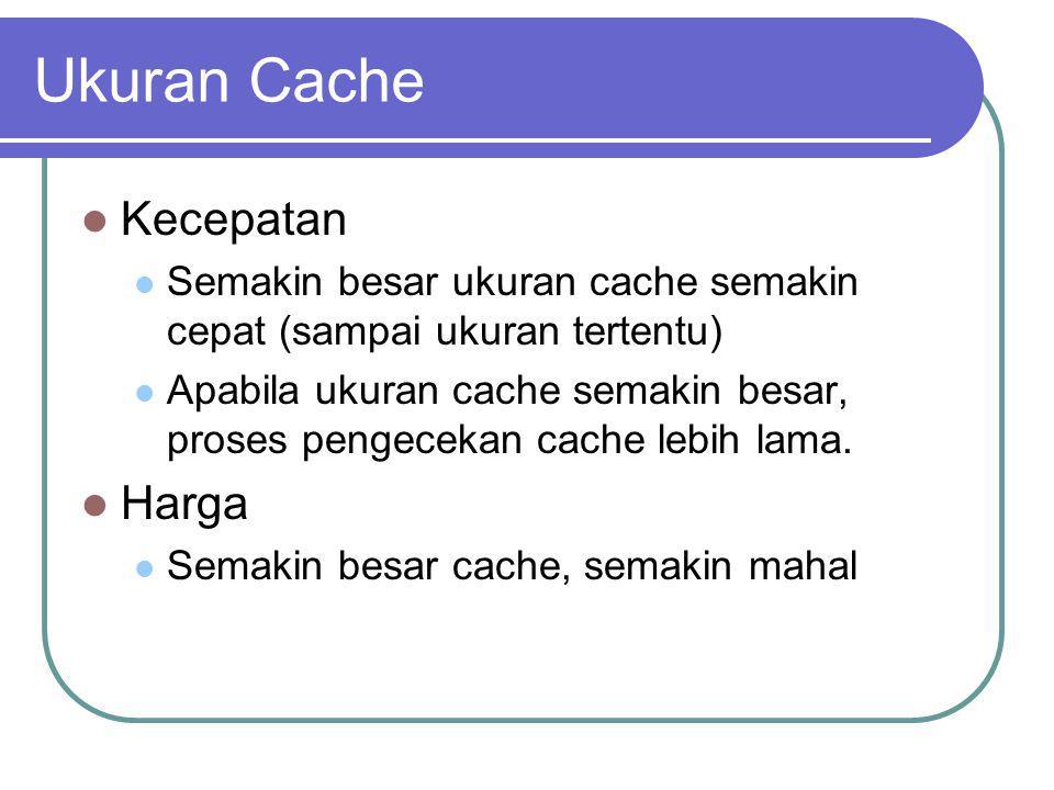 Ukuran Cache Kecepatan Semakin besar ukuran cache semakin cepat (sampai ukuran tertentu) Apabila ukuran cache semakin besar, proses pengecekan cache l
