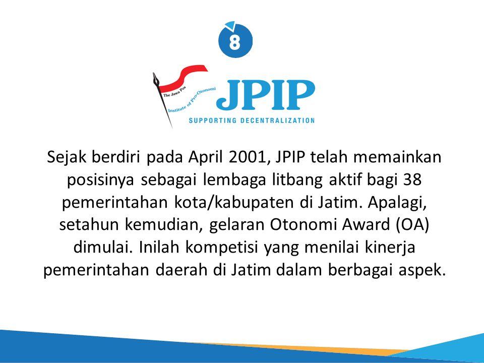 Sejak berdiri pada April 2001, JPIP telah memainkan posisinya sebagai lembaga litbang aktif bagi 38 pemerintahan kota/kabupaten di Jatim. Apalagi, set