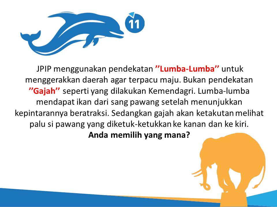 JPIP menggunakan pendekatan ''Lumba-Lumba'' untuk menggerakkan daerah agar terpacu maju. Bukan pendekatan ''Gajah'' seperti yang dilakukan Kemendagri.
