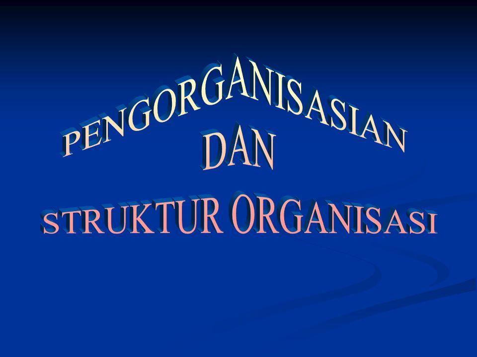 PENGORGANISASIAN : STRUKTUR DAN DESAIN ORGANISASI Pengorganisasian adalah proses penciptaan struktur organisasi Pengorganisasian adalah proses penciptaan struktur organisasi