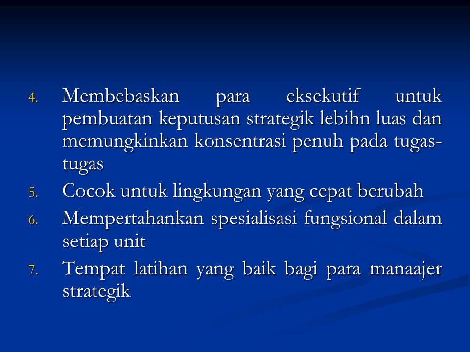 4. Membebaskan para eksekutif untuk pembuatan keputusan strategik lebihn luas dan memungkinkan konsentrasi penuh pada tugas- tugas 5. Cocok untuk ling