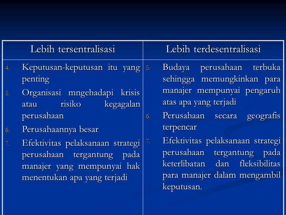 Lebih tersentralisasi Lebih terdesentralisasi 4.Keputusan-keputusan itu yang penting 5.