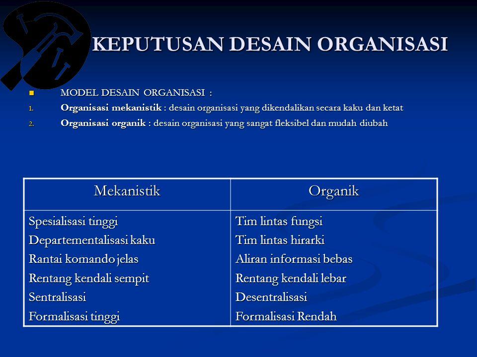 KEPUTUSAN DESAIN ORGANISASI MODEL DESAIN ORGANISASI : MODEL DESAIN ORGANISASI : 1.