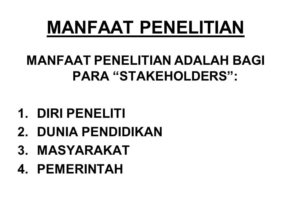 """MANFAAT PENELITIAN MANFAAT PENELITIAN ADALAH BAGI PARA """"STAKEHOLDERS"""": 1.DIRI PENELITI 2.DUNIA PENDIDIKAN 3.MASYARAKAT 4.PEMERINTAH"""
