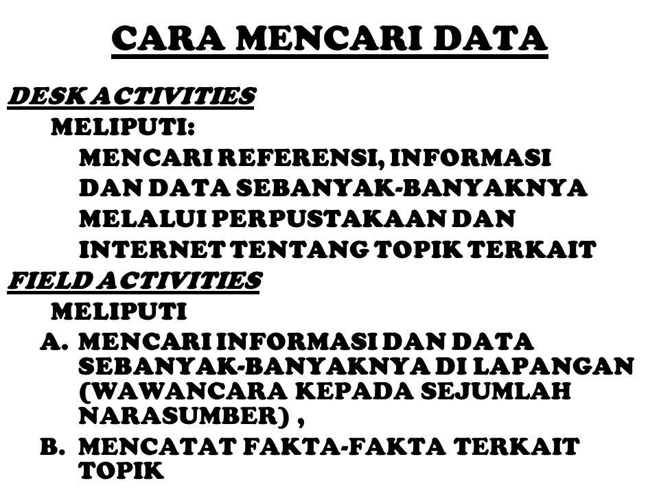 CARA MENCARI DATA DESK ACTIVITIES MELIPUTI: MENCARI REFERENSI, INFORMASI DAN DATA SEBANYAK-BANYAKNYA MELALUI PERPUSTAKAAN DAN INTERNET TENTANG TOPIK T