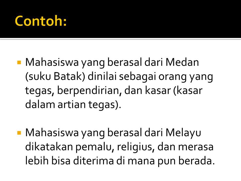  Mahasiswa yang berasal dari Medan (suku Batak) dinilai sebagai orang yang tegas, berpendirian, dan kasar (kasar dalam artian tegas).  Mahasiswa yan