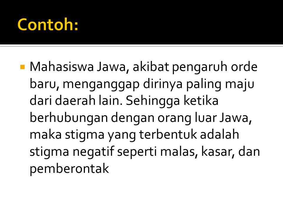  Mahasiswa Jawa, akibat pengaruh orde baru, menganggap dirinya paling maju dari daerah lain. Sehingga ketika berhubungan dengan orang luar Jawa, maka