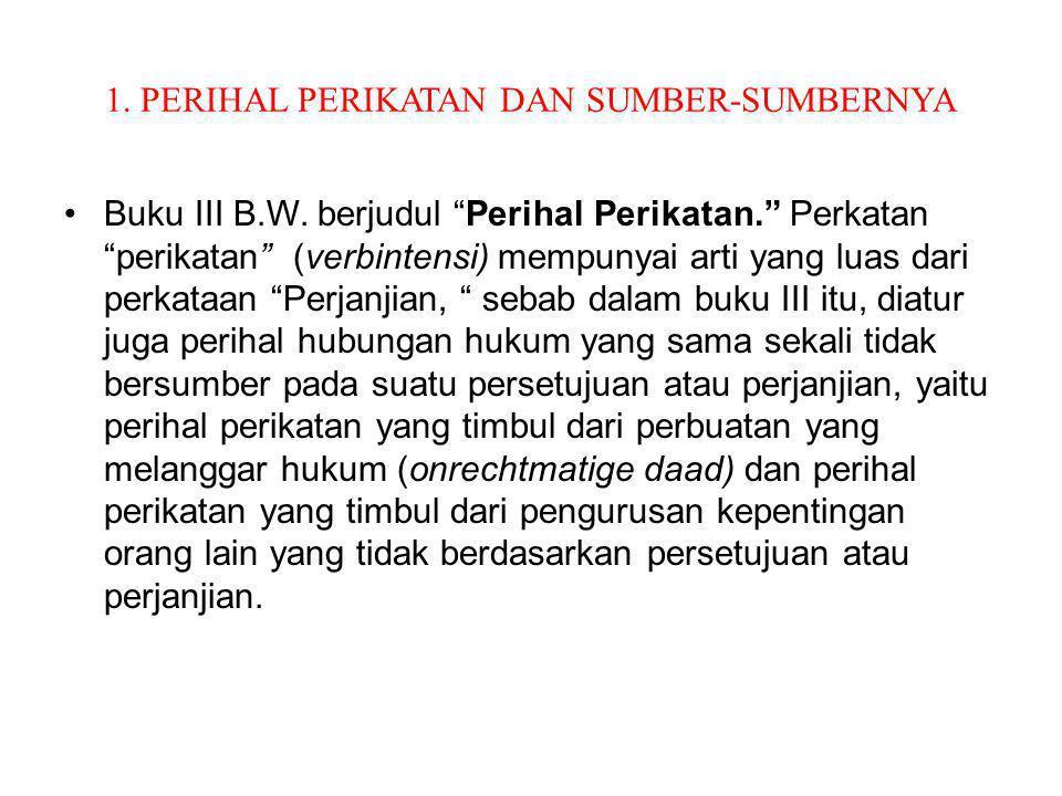 """1. PERIHAL PERIKATAN DAN SUMBER-SUMBERNYA Buku III B.W. berjudul """"Perihal Perikatan."""" Perkatan """"perikatan"""" (verbintensi) mempunyai arti yang luas dari"""