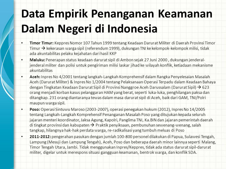 Data Empirik Penanganan Keamanan Dalam Negeri di Indonesia Timor Timur: Keppres Nomor 107 Tahun 1999 tentang Keadaan Darurat Militer di Daerah Provins