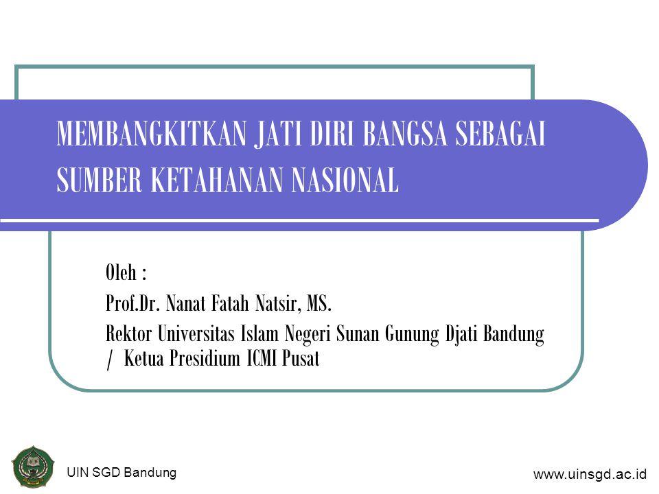 MEMBANGKITKAN JATI DIRI BANGSA SEBAGAI SUMBER KETAHANAN NASIONAL Oleh : Prof.Dr.
