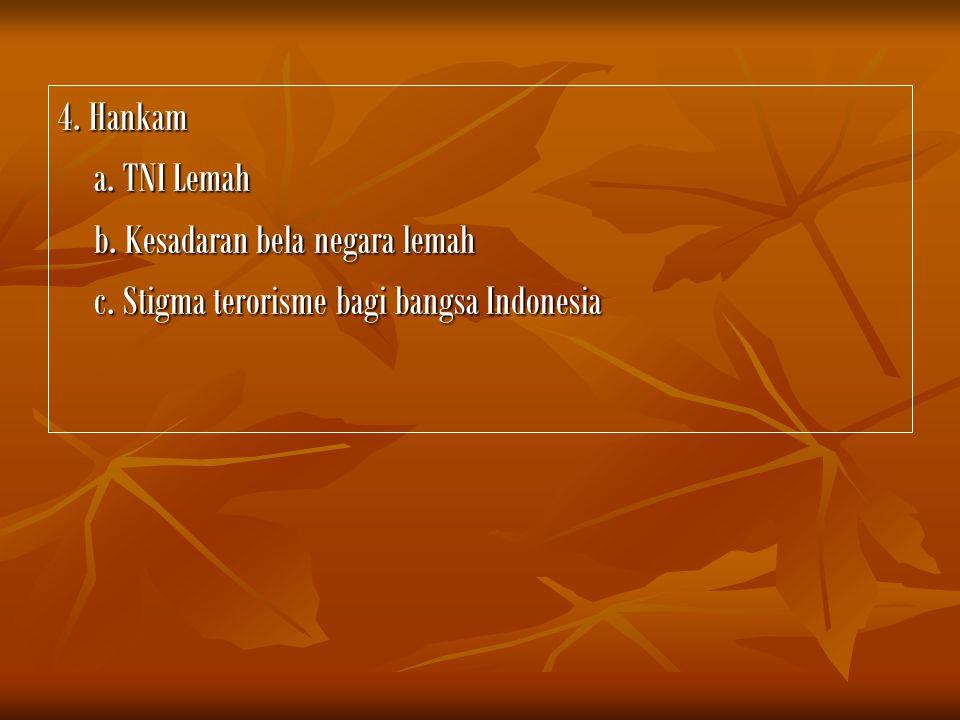 4. Hankam a. TNI Lemah b. Kesadaran bela negara lemah c. Stigma terorisme bagi bangsa Indonesia