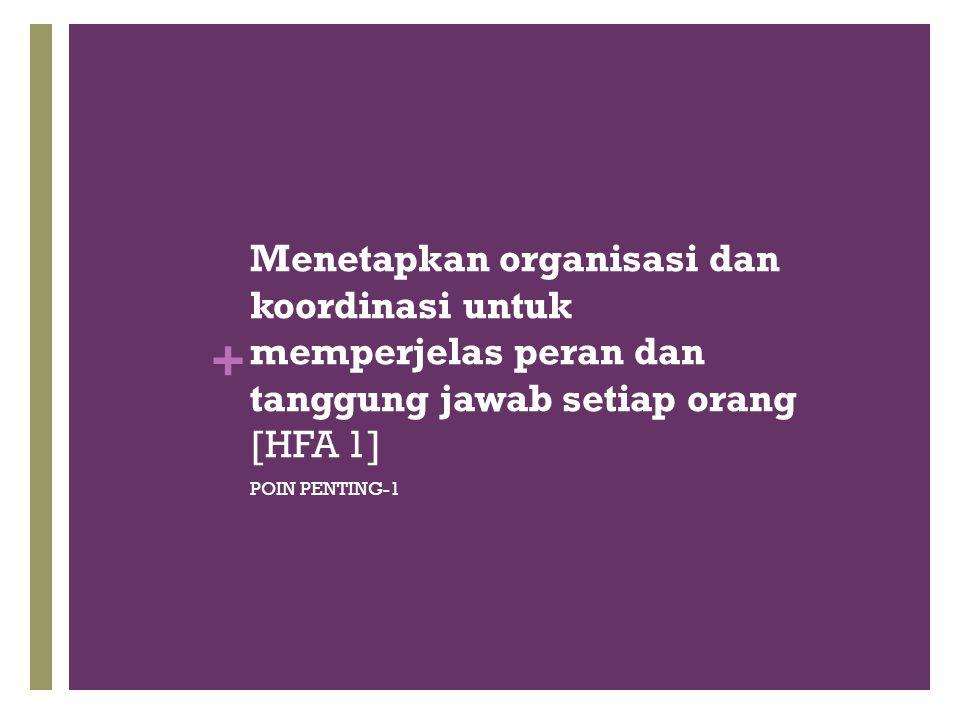 + Menetapkan organisasi dan koordinasi untuk memperjelas peran dan tanggung jawab setiap orang [HFA 1] POIN PENTING-1