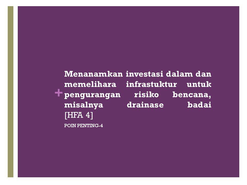 + Menanamkan investasi dalam dan memelihara infrastuktur untuk pengurangan risiko bencana, misalnya drainase badai [HFA 4] POIN PENTING-4