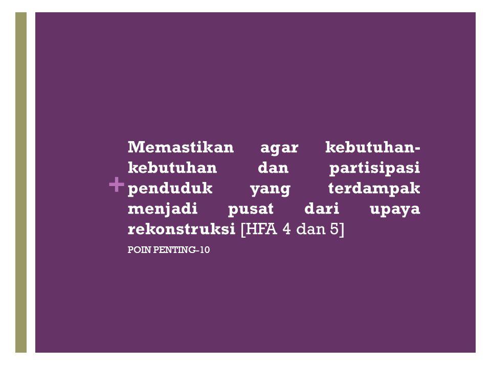 + Memastikan agar kebutuhan- kebutuhan dan partisipasi penduduk yang terdampak menjadi pusat dari upaya rekonstruksi [HFA 4 dan 5] POIN PENTING-10