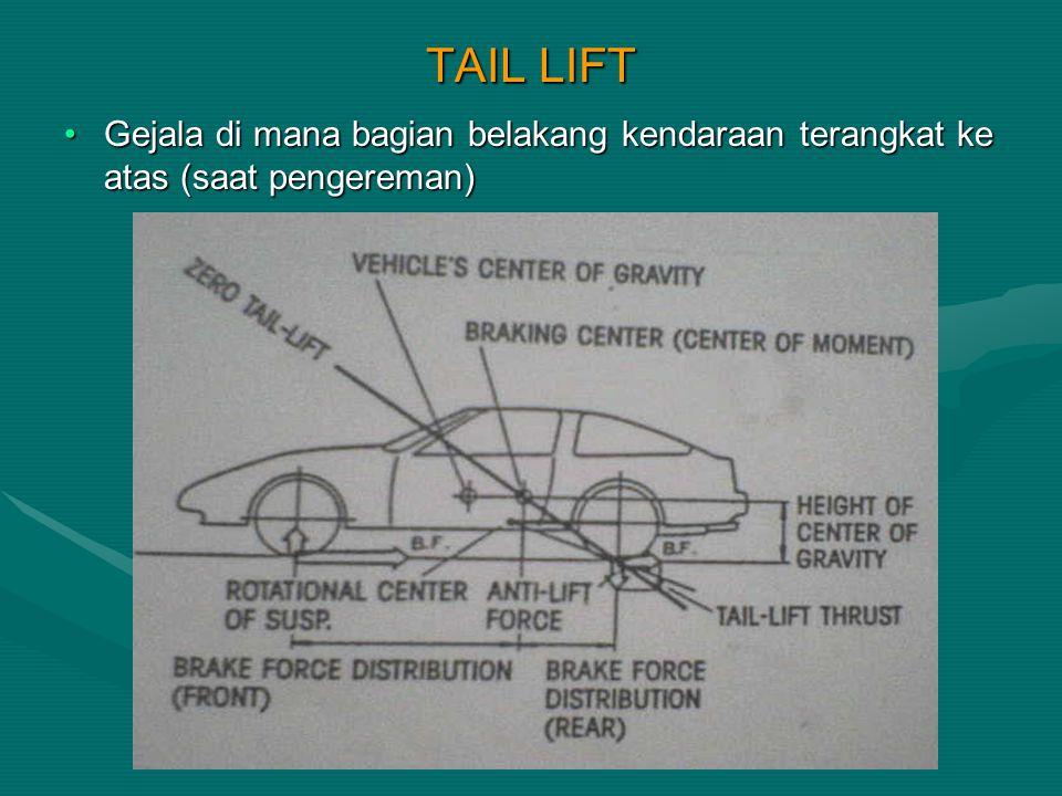 TAIL LIFT Gejala di mana bagian belakang kendaraan terangkat ke atas (saat pengereman)Gejala di mana bagian belakang kendaraan terangkat ke atas (saat