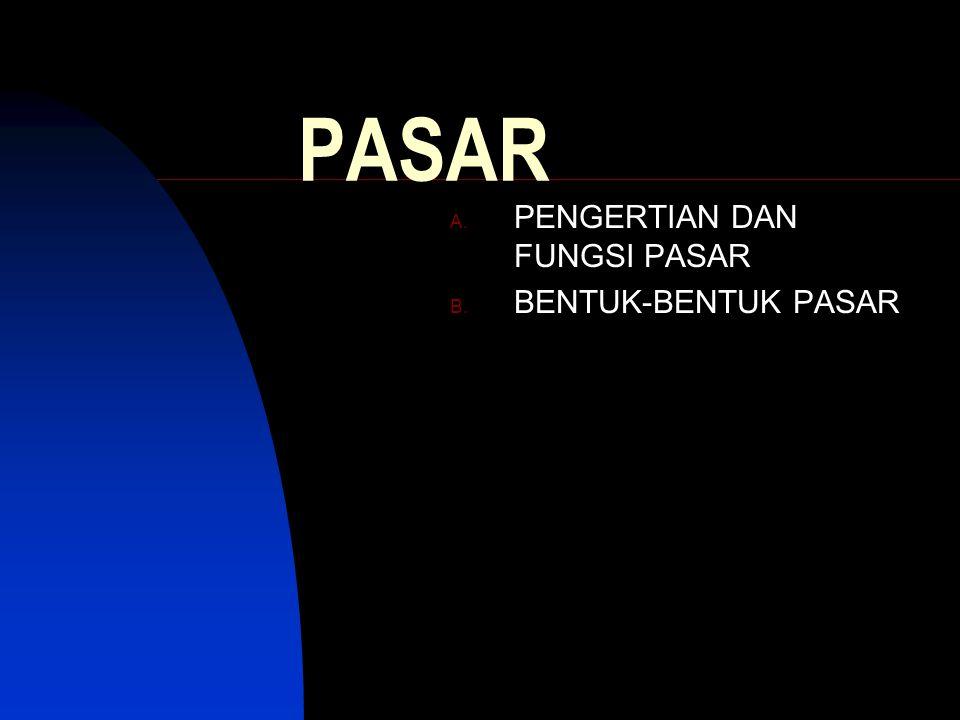 PASAR A. PENGERTIAN DAN FUNGSI PASAR B. BENTUK-BENTUK PASAR