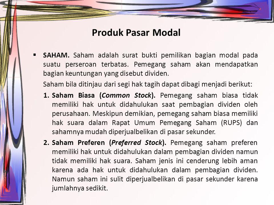 Produk Pasar Modal  SAHAM.