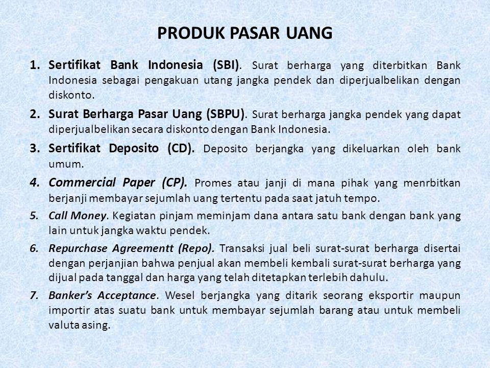 PRODUK PASAR UANG 1.Sertifikat Bank Indonesia (SBI).