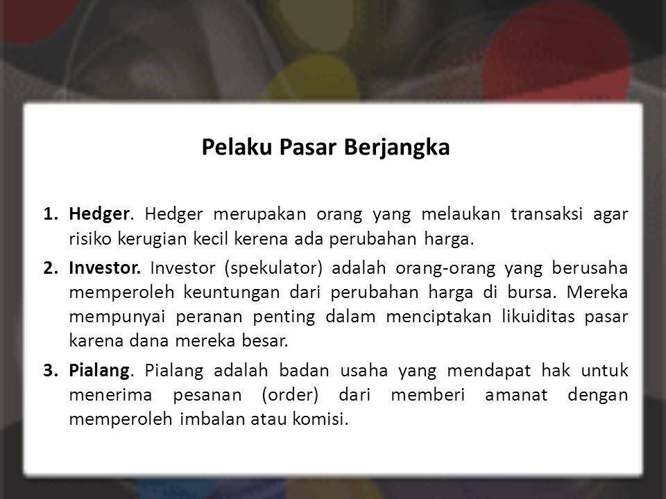 Pelaku Pasar Berjangka 1.Hedger.