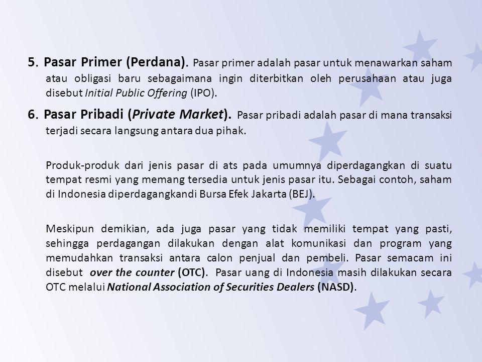 PASAR MODAL Karakteristik Pasar Modal Pasar modal adalah pasar atau tempat yang memfasilitasi perdagangan dan penerbitan dana jangka panjang seperti saham, obligasi, atau surat berharga lainnya.