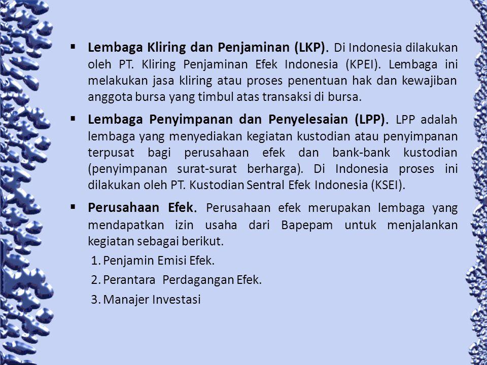 Lembaga Penunjang Pasar Modal 1.Biro Administrasi Efek (BAK).