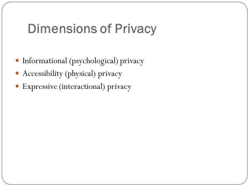 Dimensions of Privacy Informational (psychological) privacy Accessibility (physical) privacy Expressive (interactional) privacy