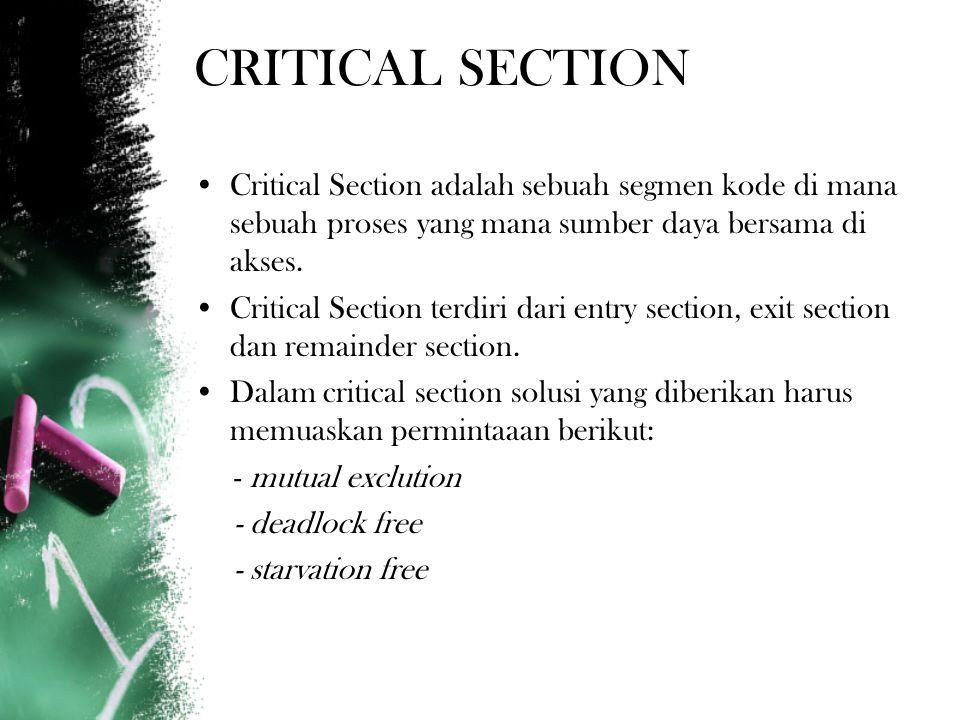 CRITICAL SECTION Critical Section adalah sebuah segmen kode di mana sebuah proses yang mana sumber daya bersama di akses.