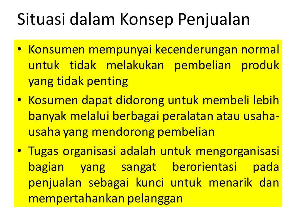 Situasi dalam Konsep Penjualan Konsumen mempunyai kecenderungan normal untuk tidak melakukan pembelian produk yang tidak penting Kosumen dapat didoron