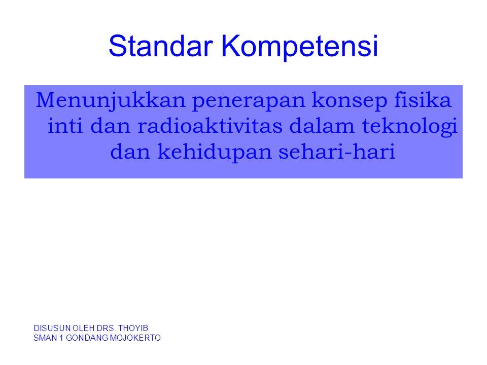 Kompetensi Dasar Mengidentifikasi karakteristik inti atom dan radioaktivitas DISUSUN OLEH DRS.