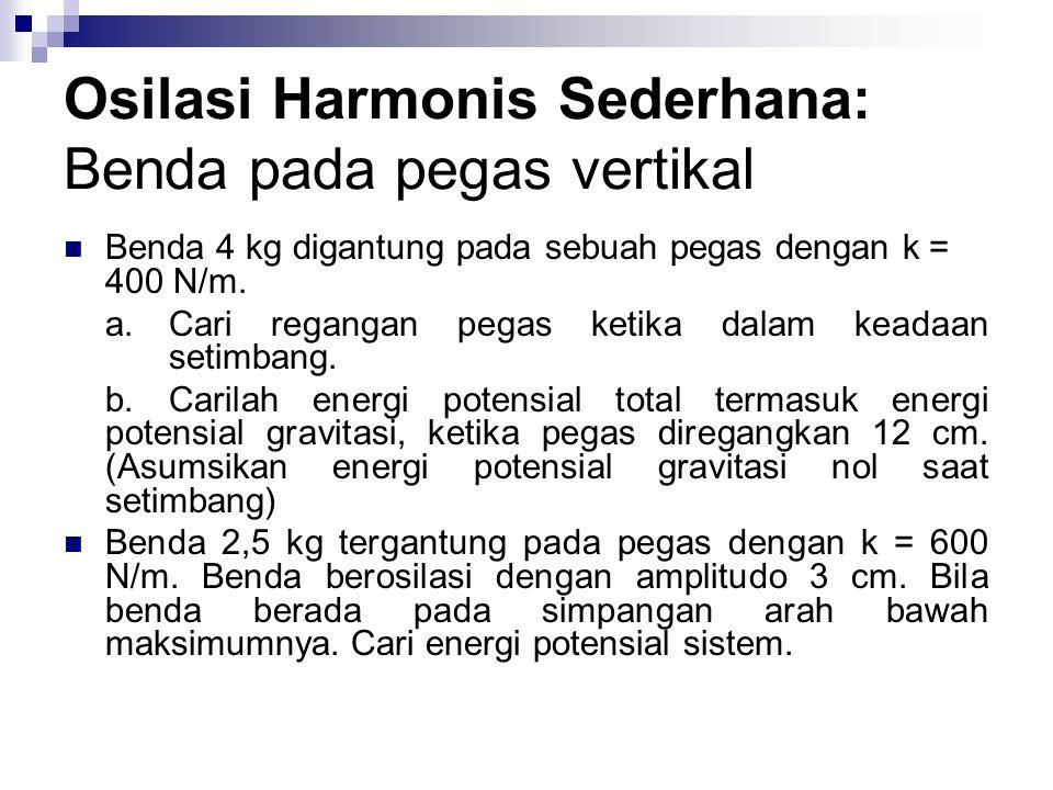 Osilasi Harmonis Sederhana: Benda pada pegas vertikal Benda 4 kg digantung pada sebuah pegas dengan k = 400 N/m. a.Cari regangan pegas ketika dalam ke