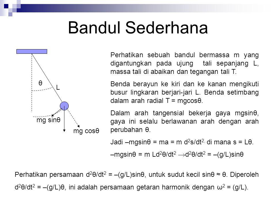 Bandul Sederhana θ mg sinθ mg cosθ L Perhatikan sebuah bandul bermassa m yang digantungkan pada ujung tali sepanjang L, massa tali di abaikan dan tegangan tali T.