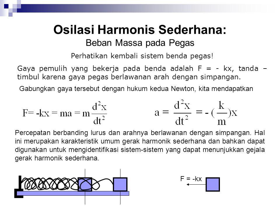 Osilasi Harmonis Sederhana: Beban Massa pada Pegas Solusi persamaan di atas yang berbentuk osilasi harmonik sederhana adalah X = A sin(ωt + θ) atau X = A cos(ωt + θ) Di mana A ≡ simpangan maksimum = amplitudo, ω=frekuensi sudut, θ = fasa awal, (ωt + θ) = fasa, ω = 2  f = 2  /T, T = waktu yang diperlukan suatu benda untuk melakukan satu osilasi.