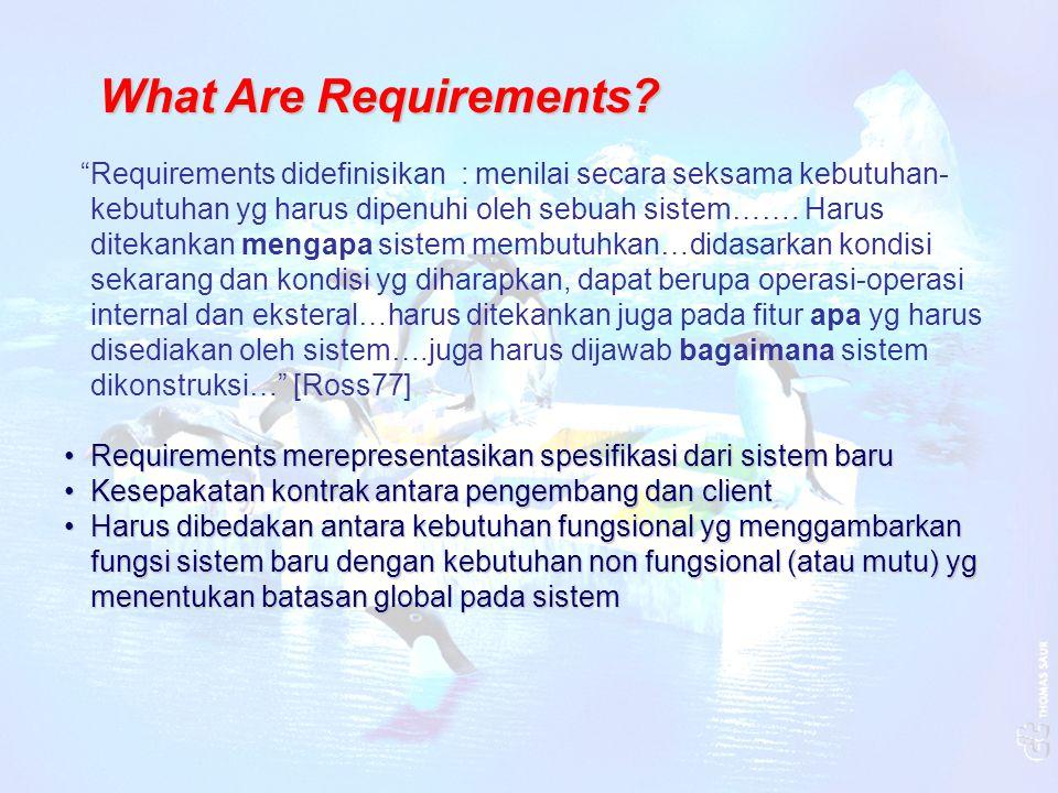 """""""Requirements didefinisikan : menilai secara seksama kebutuhan- kebutuhan yg harus dipenuhi oleh sebuah sistem……. Harus ditekankan mengapa sistem memb"""