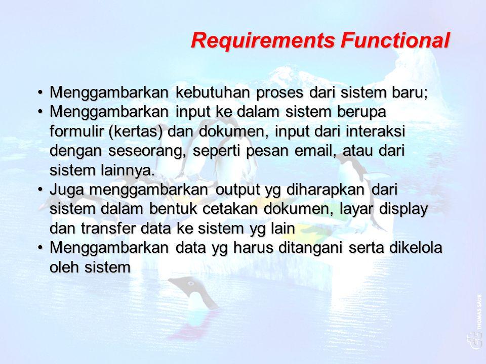 Non-Functional Requirements Menggambarkan aspek-aspek dari sistem dgn memperhatikan bagaimana memberikan dukungan pada kebutuhan fungsional atau disebut dengan quality requirementsMenggambarkan aspek-aspek dari sistem dgn memperhatikan bagaimana memberikan dukungan pada kebutuhan fungsional atau disebut dengan quality requirements Yaitu :Yaitu : - kriteria kinerja seperti tingkat waktu respon updating data pada sistem atau pengambilan data dari sistem pada sistem atau pengambilan data dari sistem - kebutuhan kehandalan - Pertimbangan keamanan, akses yg benar bagi user - standar-standar kerja sistem - kemudahan dalam penggunaan sistem, user mampu menggunakan sistem setelah 2 hari training menggunakan sistem setelah 2 hari training