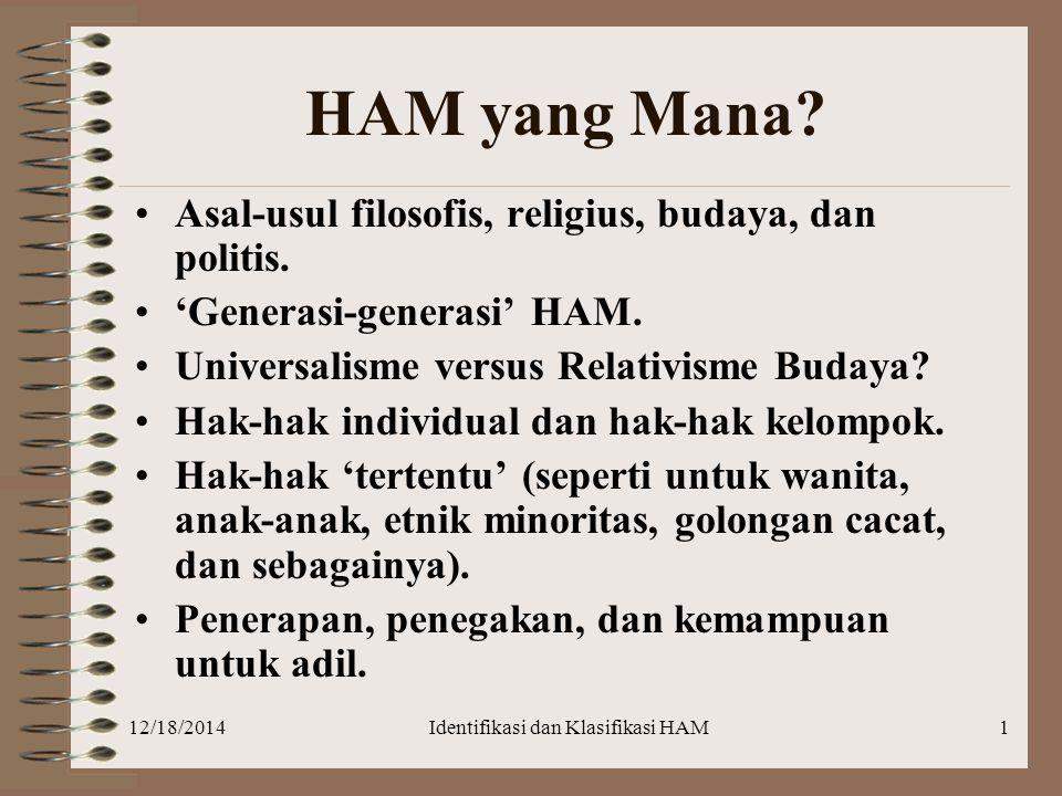 12/18/2014Identifikasi dan Klasifikasi HAM1 HAM yang Mana? Asal-usul filosofis, religius, budaya, dan politis. 'Generasi-generasi' HAM. Universalisme