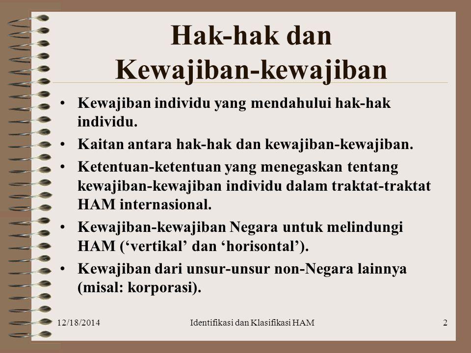 12/18/2014Identifikasi dan Klasifikasi HAM2 Hak-hak dan Kewajiban-kewajiban Kewajiban individu yang mendahului hak-hak individu. Kaitan antara hak-hak