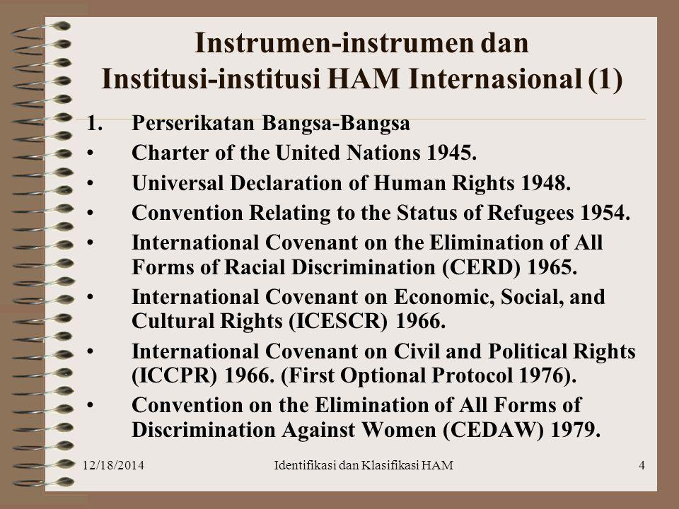 12/18/2014Identifikasi dan Klasifikasi HAM4 Instrumen-instrumen dan Institusi-institusi HAM Internasional (1) 1.Perserikatan Bangsa-Bangsa Charter of