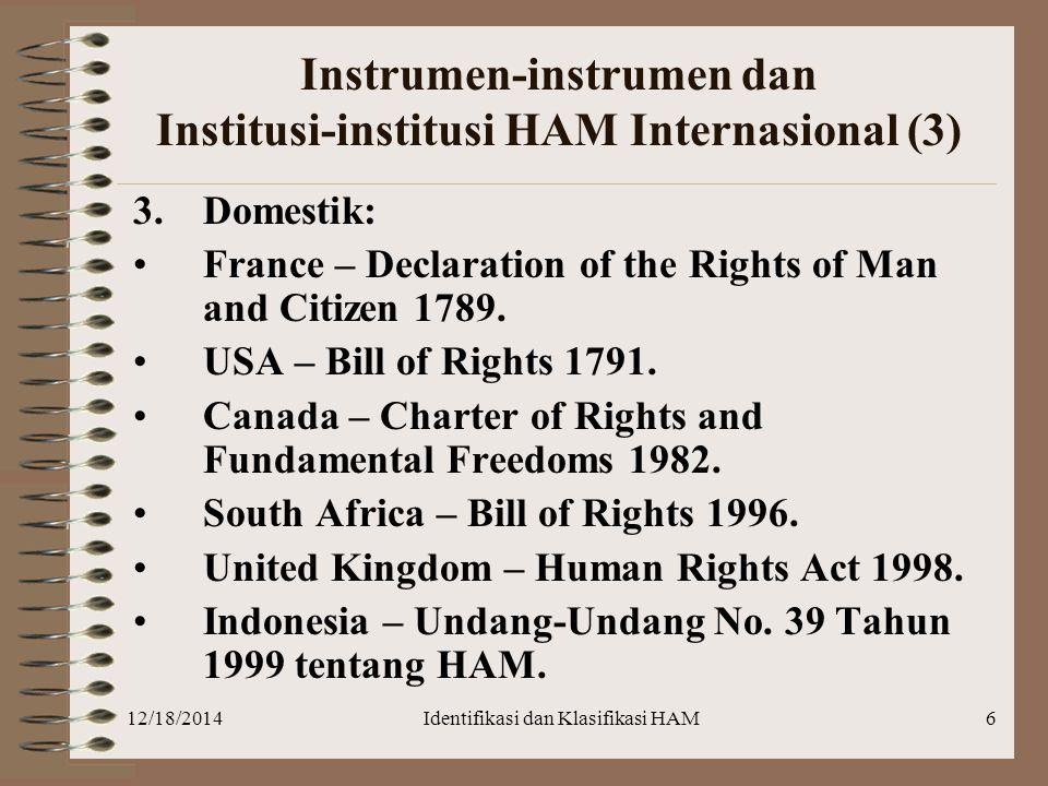 12/18/2014Identifikasi dan Klasifikasi HAM6 Instrumen-instrumen dan Institusi-institusi HAM Internasional (3) 3.Domestik: France – Declaration of the