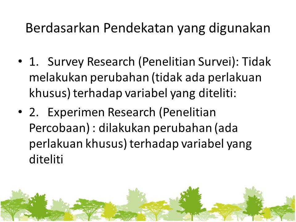Berdasarkan Pendekatan yang digunakan 1. Survey Research (Penelitian Survei): Tidak melakukan perubahan (tidak ada perlakuan khusus) terhadap variabel