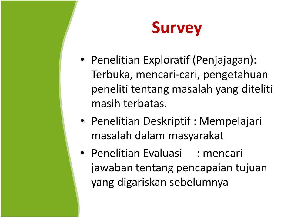Survey Penelitian Exploratif (Penjajagan): Terbuka, mencari-cari, pengetahuan peneliti tentang masalah yang diteliti masih terbatas. Penelitian Deskri