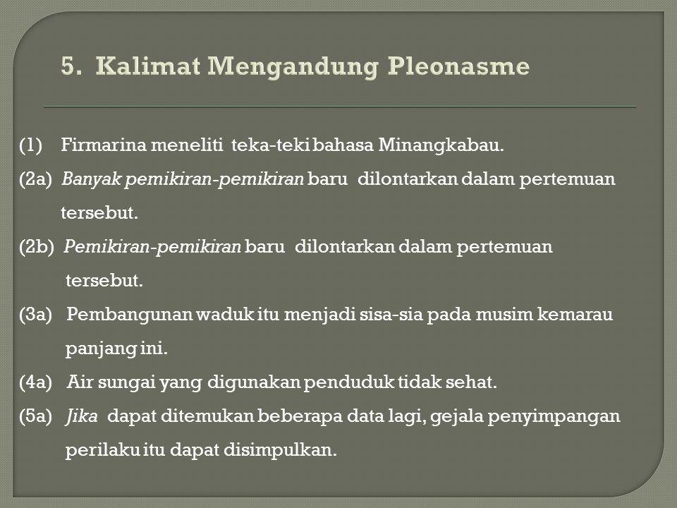 (1) Firmarina meneliti teka-teki bahasa Minangkabau. (2a) Banyak pemikiran-pemikiran baru dilontarkan dalam pertemuan tersebut. (2b) Pemikiran-pemikir