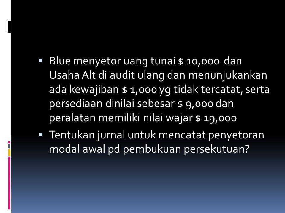 Contoh  Alt dan Blu sepakat membentuk persekutuan, berikut saldo Alt pd tanggal 31 Desember 200x  Kas3,000  Persediaan7,000  Peralatan20,000  Aku