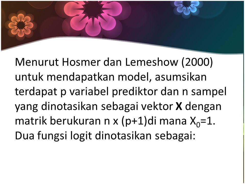 Menurut Hosmer dan Lemeshow (2000) untuk mendapatkan model, asumsikan terdapat p variabel prediktor dan n sampel yang dinotasikan sebagai vektor X dengan matrik berukuran n x (p+1)di mana X 0 =1.